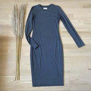 Revolve BLQ Long Sleeve Charcoal Midi Dress   S
